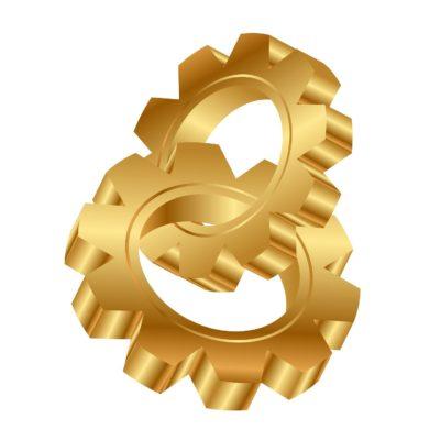 Vector 3d illustration of golden cog wheels