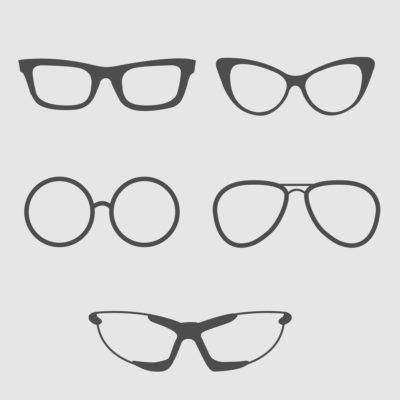Glasses set. Isolated Icons.