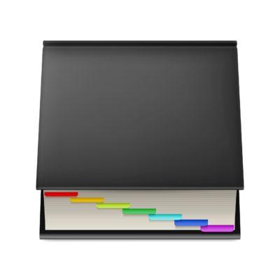 Black notebook.