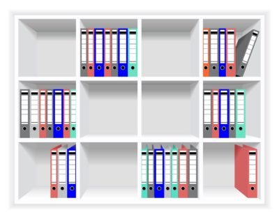 Rows of folders on the shelves.