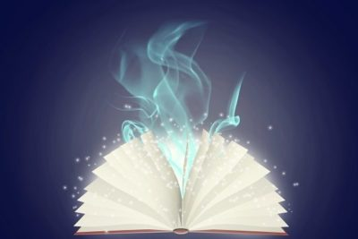 Illustration of colorful open book on blue background